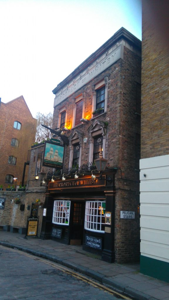"""""""For decades the pub on the river had been the station local before the move to Whitechapel. It was old school: flagstones on the floor, anchors, wheels and other nautical stuff pinned to the walls."""""""